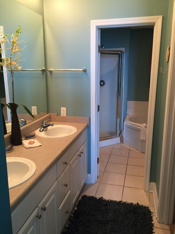 Master Bath with Double Sinks and Walkin Closet,Glass shower, Jacuzzi Tub