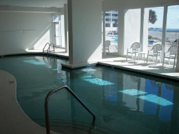 Large indoor heated pool at Lighthouse Condo