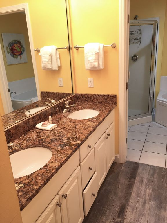 Master bath with walk in closet and double sinks