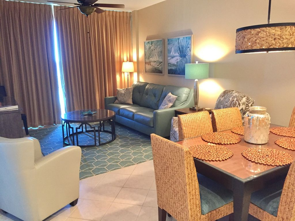 View of Spacious living Room- opens to Gulf Front Balcony