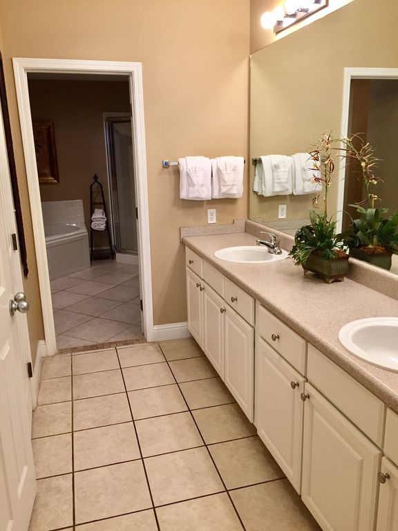 Master Bath with Double Sinks and Walkin Closet Glass Enclosed shower