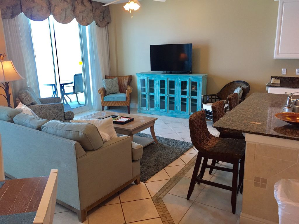 View of Living Room that opens to Gulf Front Balcony