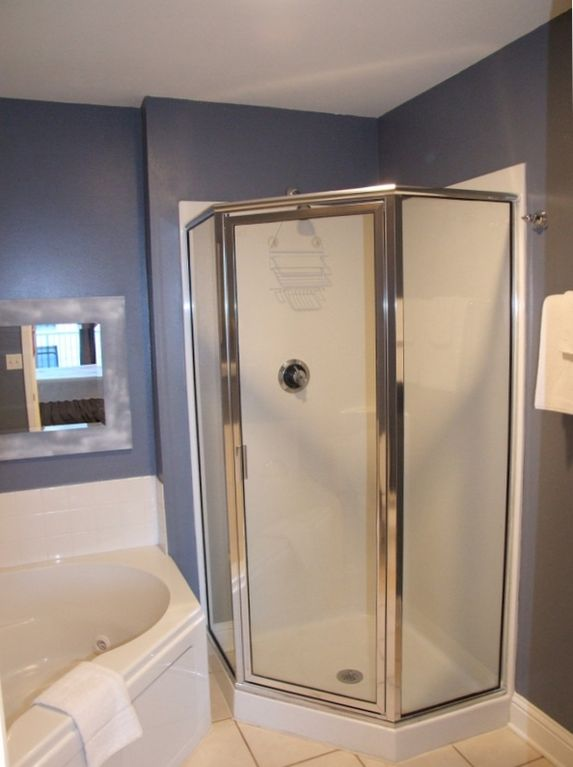 Glass enclosed Shower in Master Bathroom