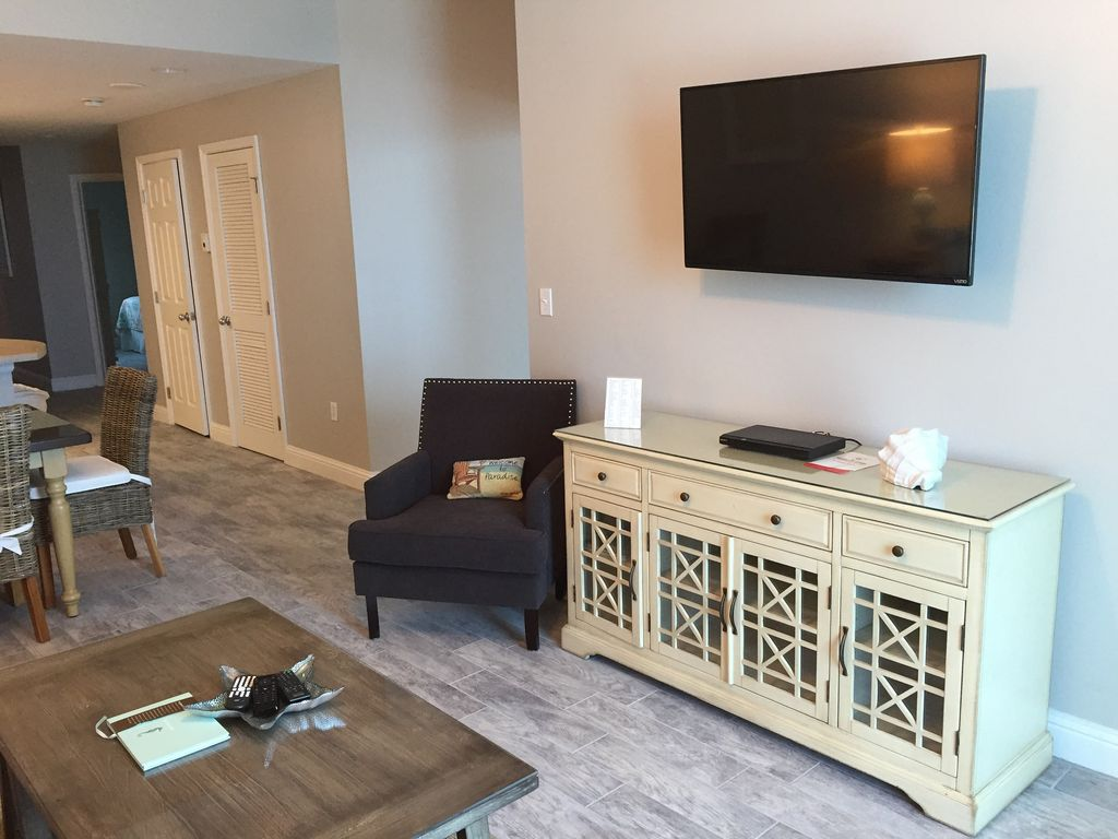Living room with 43 inch TV and DVD