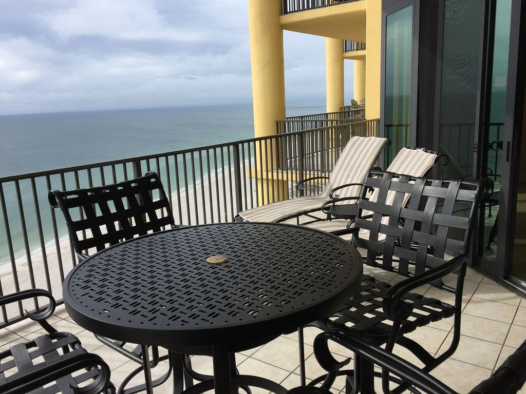 Gulf Front Balcony  Table & 4 chairs and 2 Loungers