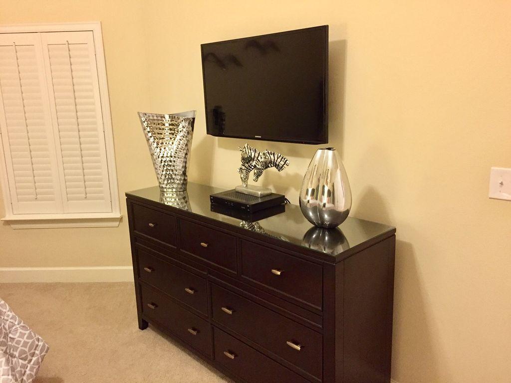 QUeen Guest Bedroom with Large TV