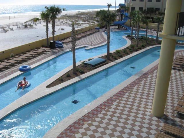 Lazy River Pool and Slide Overlooking the Beach