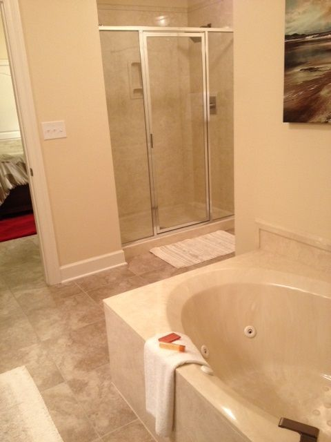 Master Bathroom Glass enclosed Shower and Jacuzzi Tub
