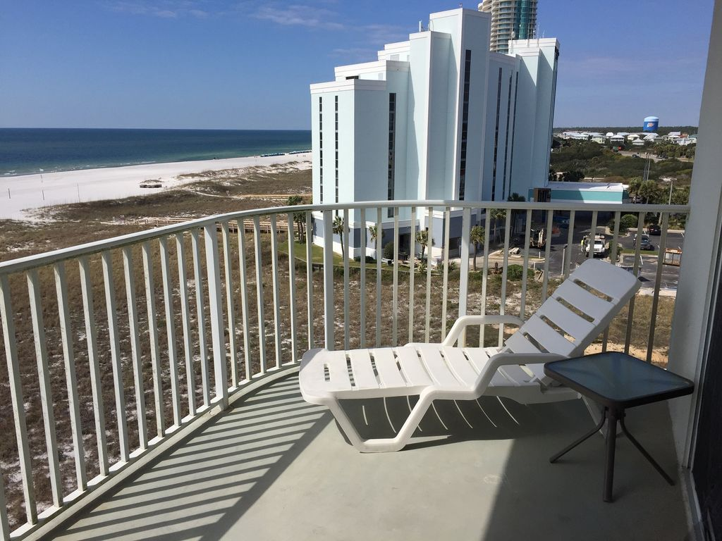 Gulf front balcony view with stunning views of the beach in front of Tidewater