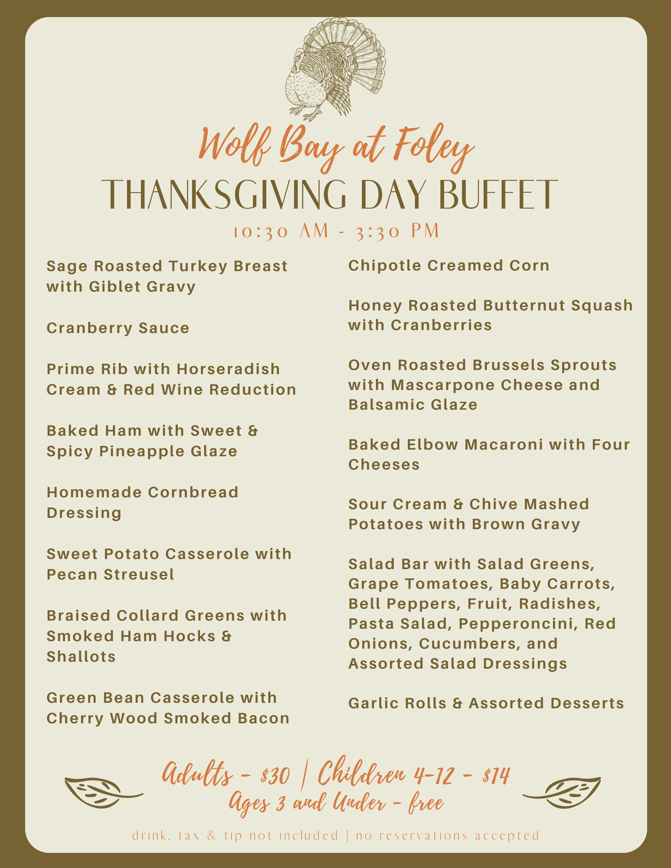 Thanksgiving Dinner Buffet at Wolf Bay (Foley)