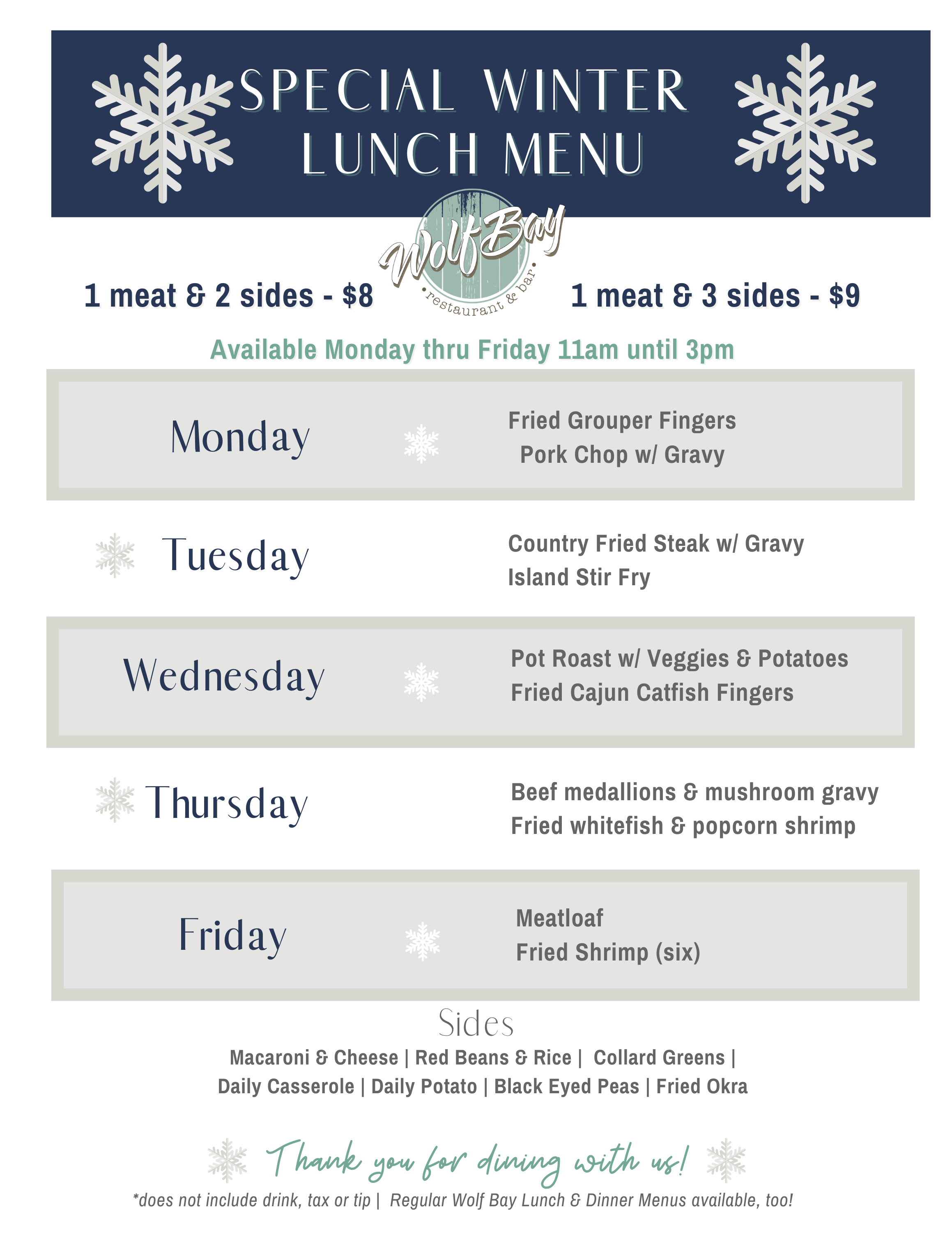 Wolf Bay Winter Lunch Menu - Special!