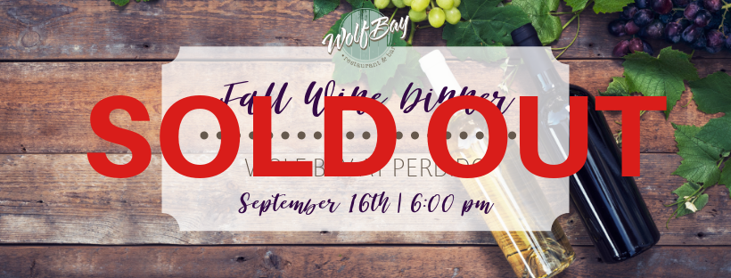 SOLD OUT!Fall Wine Dinner at Wolf Bay Perdido