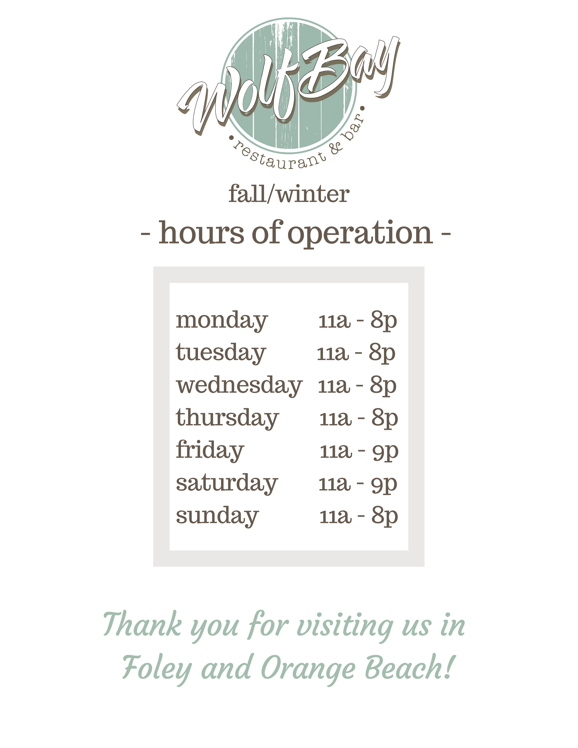 Fall / Winter Hours at Wolf Bay