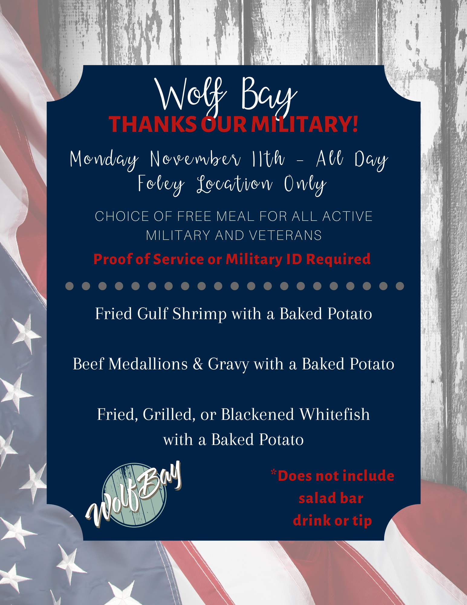 Veterans Eat Free Wolf Bay