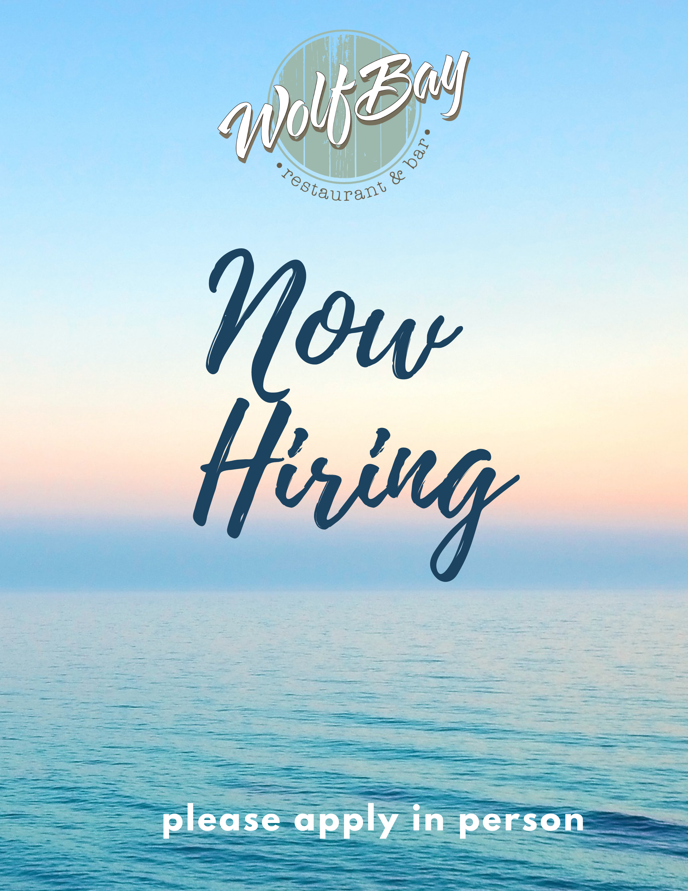 Wolf Bay is HIRING for ALL POSITIONS!!