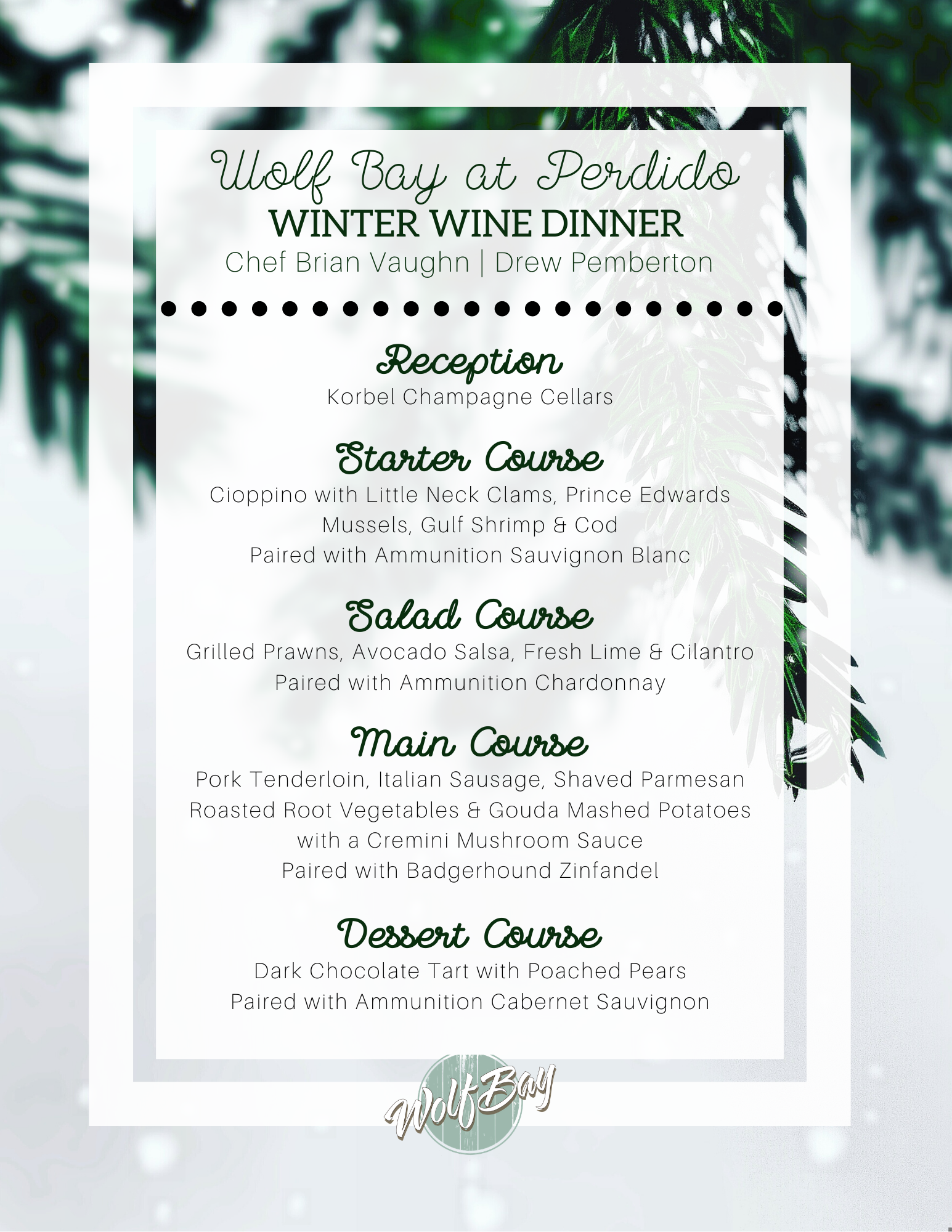 Wolf Bay Perdido Winter Wine Menu
