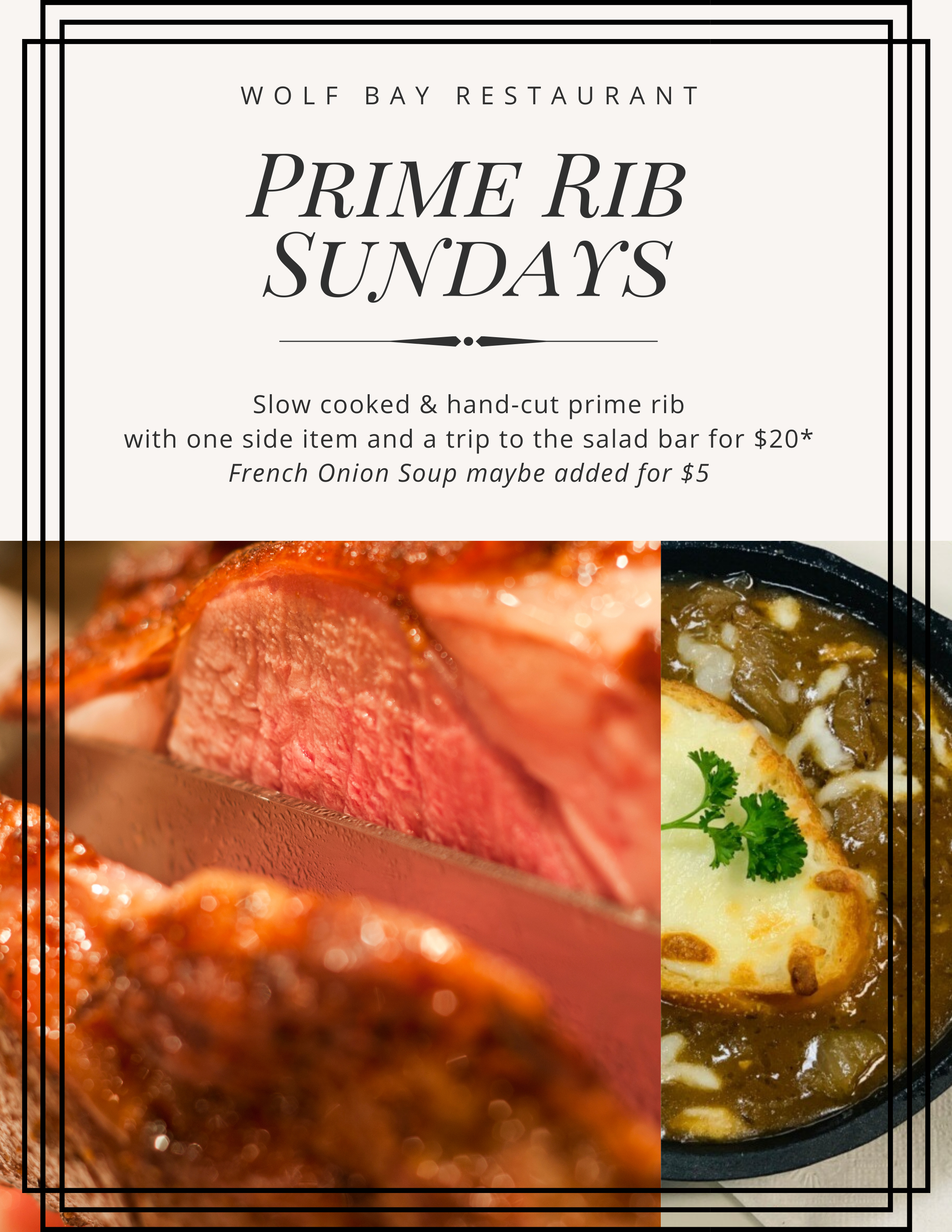 Wolf Bay Foley and Orange Beach Prime Rib Sundays are back!
