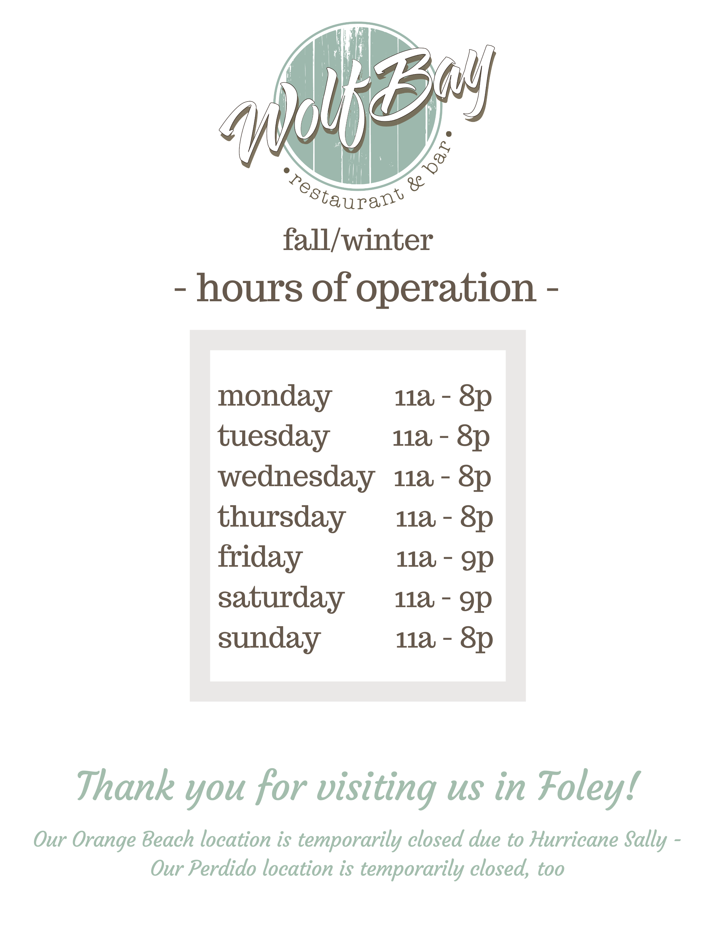 Wolf Bay will offer Fall & Winter hours