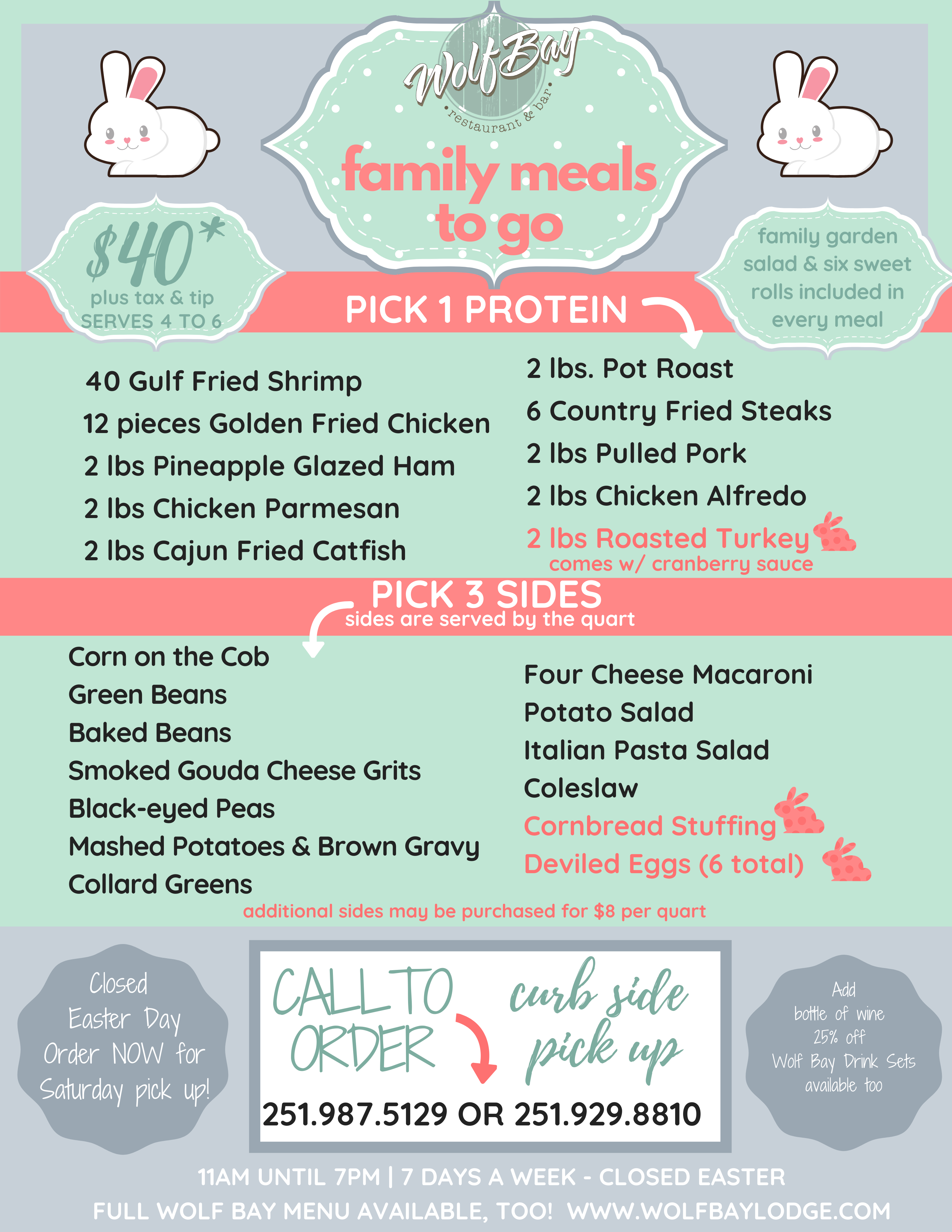 Family Meals Curb Side Pick Up in Foley - EASTER MENU