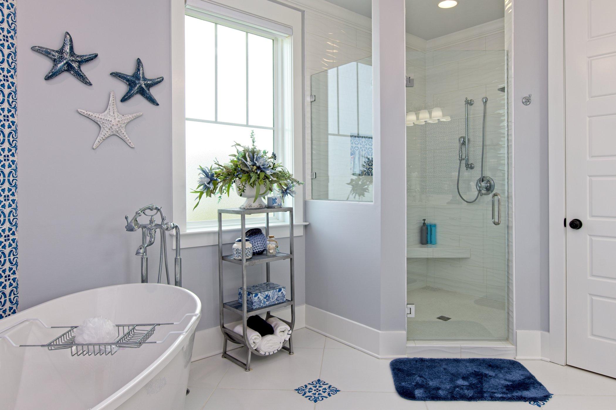 Beautiful master Bathroom with free standing bathtub