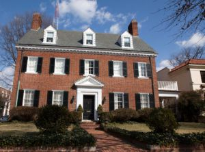 image of a red brick colonial revival home