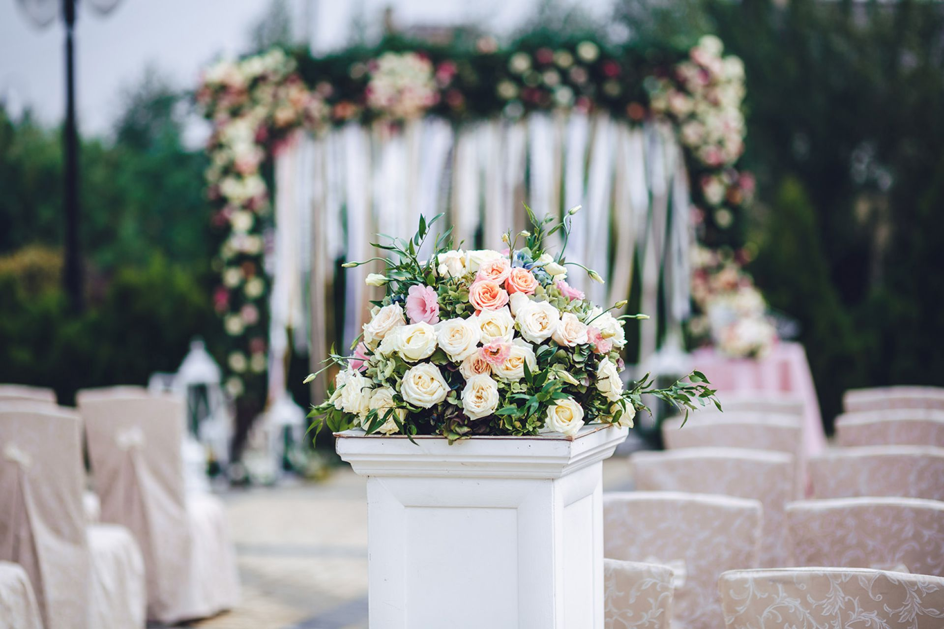An image of ceremony decor with flowers