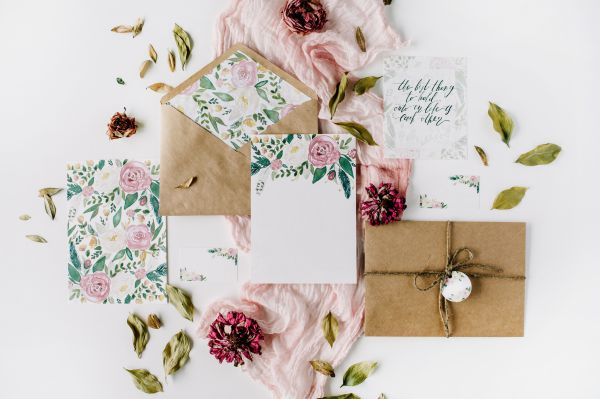 Image of blush, white and green invitations