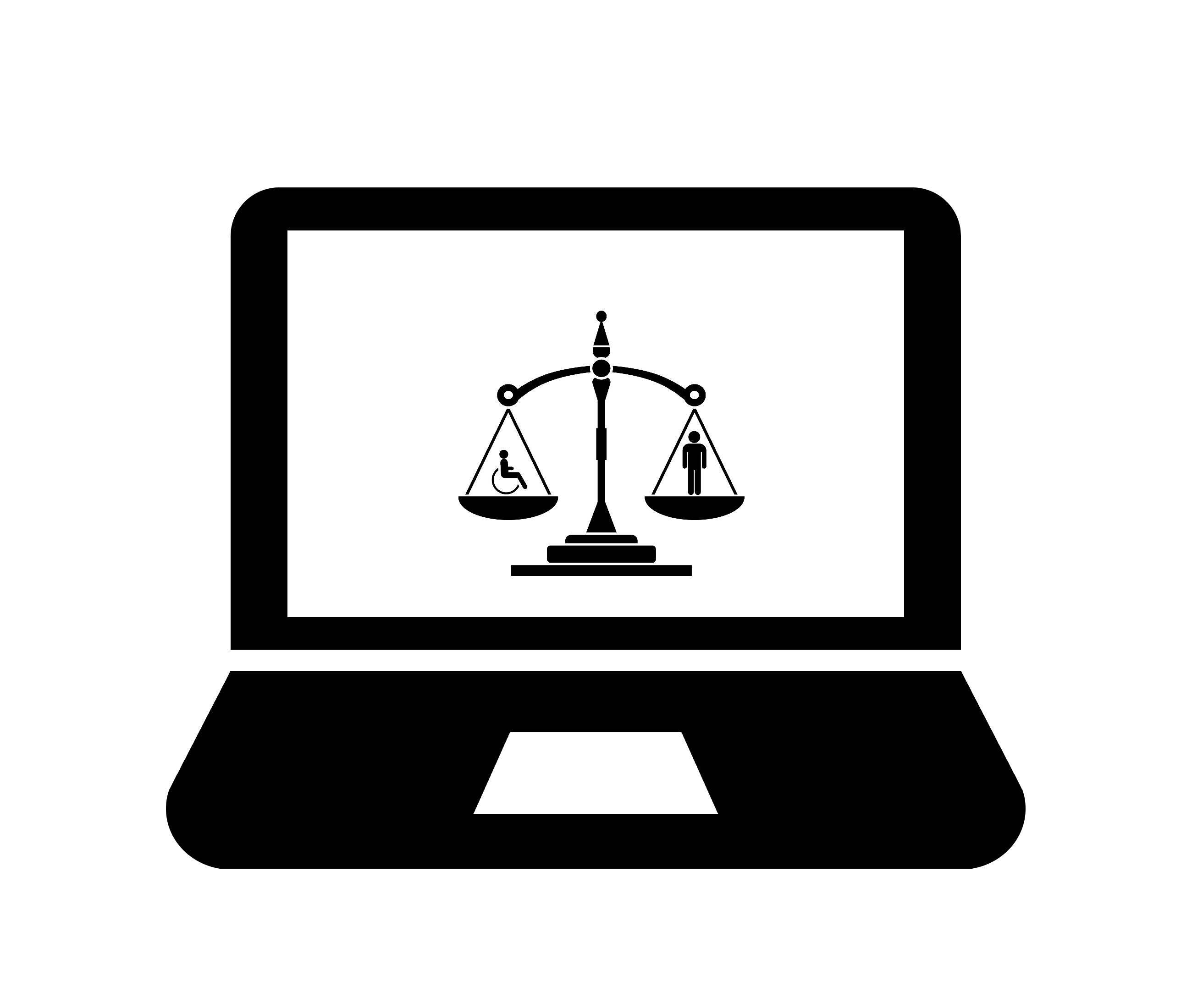 laptop with scales of justice with a figure standing on the scale to the right and a figure in a wheelchair on the left both equal