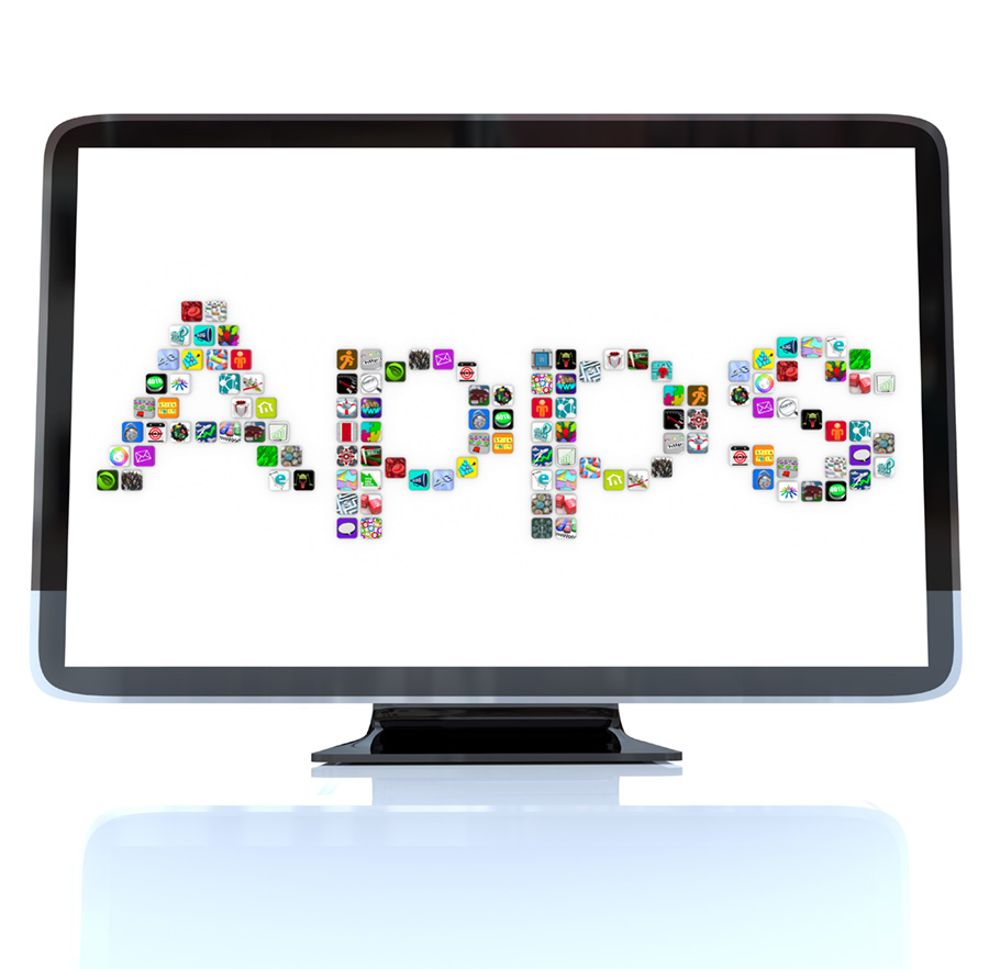 Computer monitor with the word APP spelled out using icons