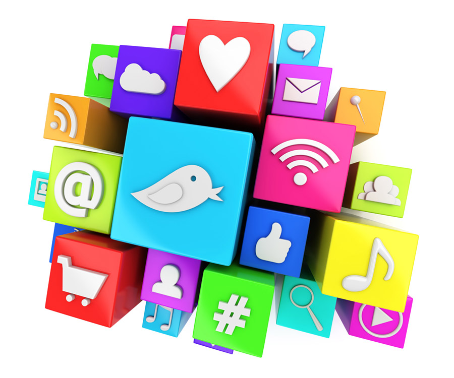 Social media icons for twitter, facebook, rss, and chat