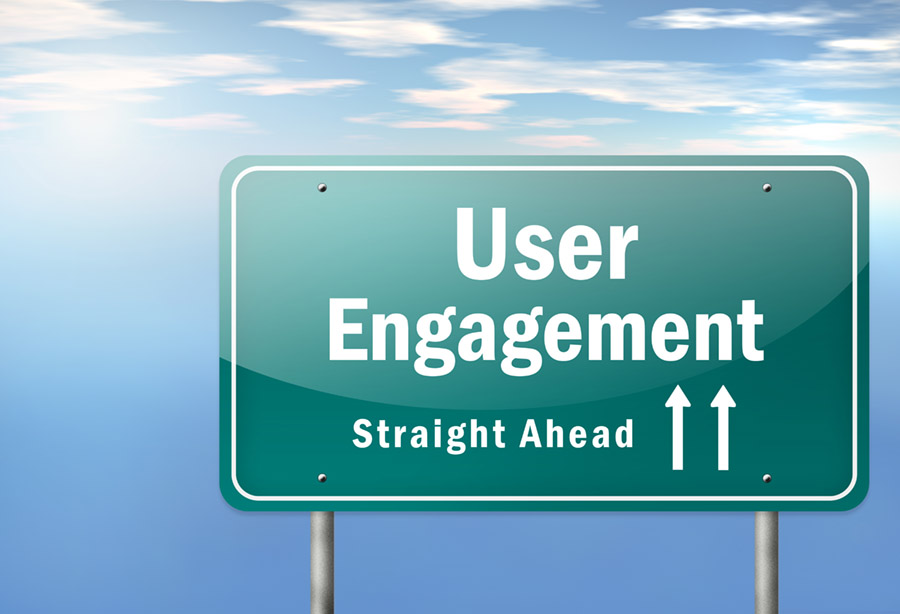 Road sign with 2 arrows pointing up that says user engagement ahead