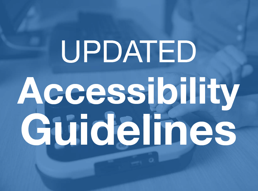white text on blue black ground that says updated accessibility guidelines