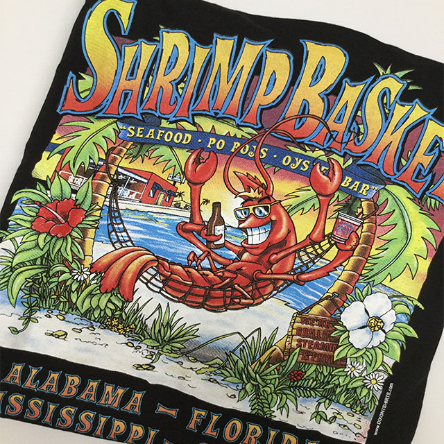 Photo of Shrimp Basket Womens V-Neck T-shirt Black