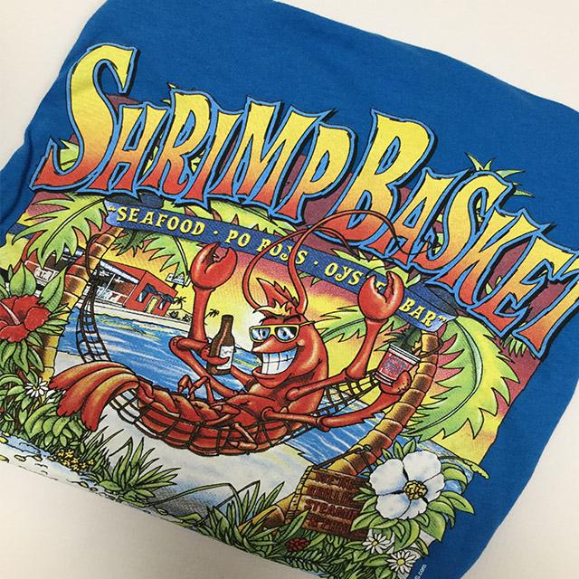 Photo of Shrimp Basket Womens V-Neck T-shirt Ocean Blue