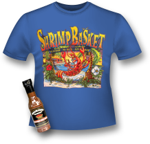 graphic of Shrimp Basket t-shirt and hot sauce