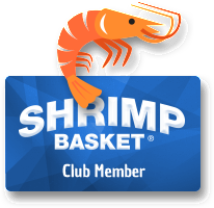 graphic of cartoon shrimp and memerbship card
