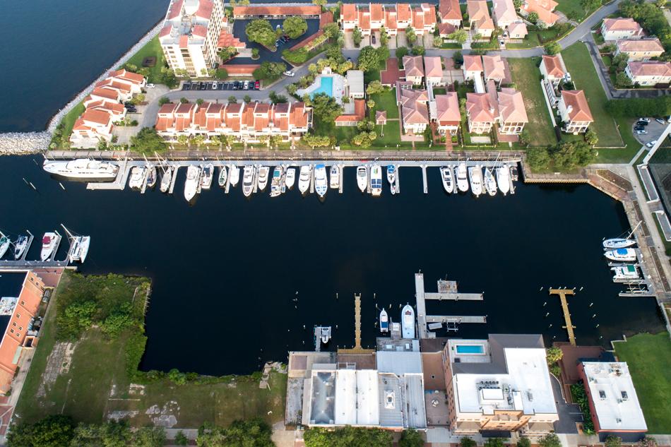 Baylen Slips Marina aerial overhead view