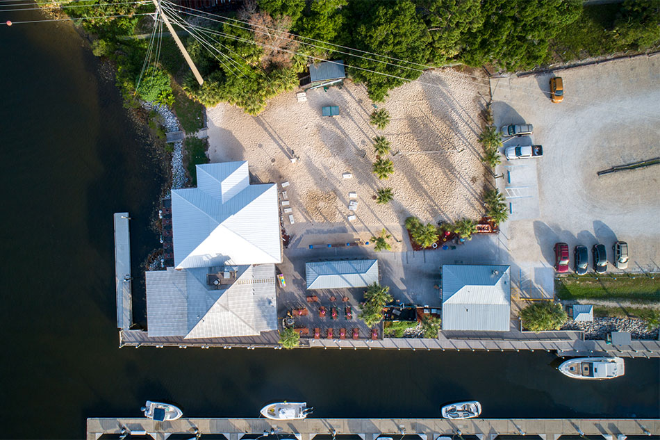 Oar House aerial view from overhead