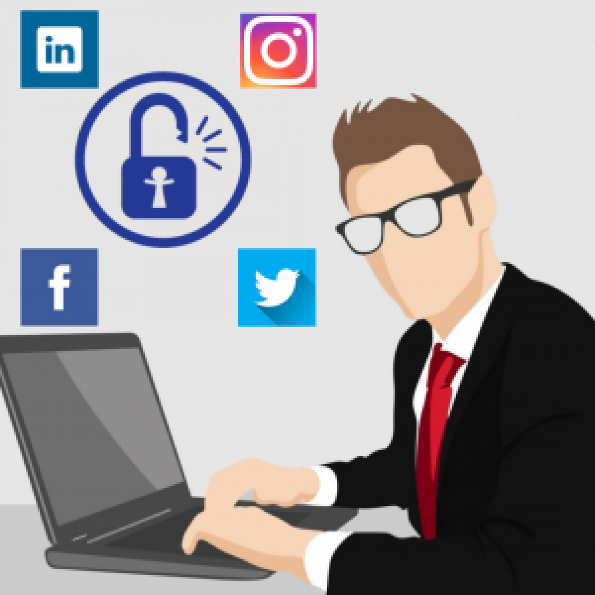 graphic of man using laptop computer with social media icon balloons