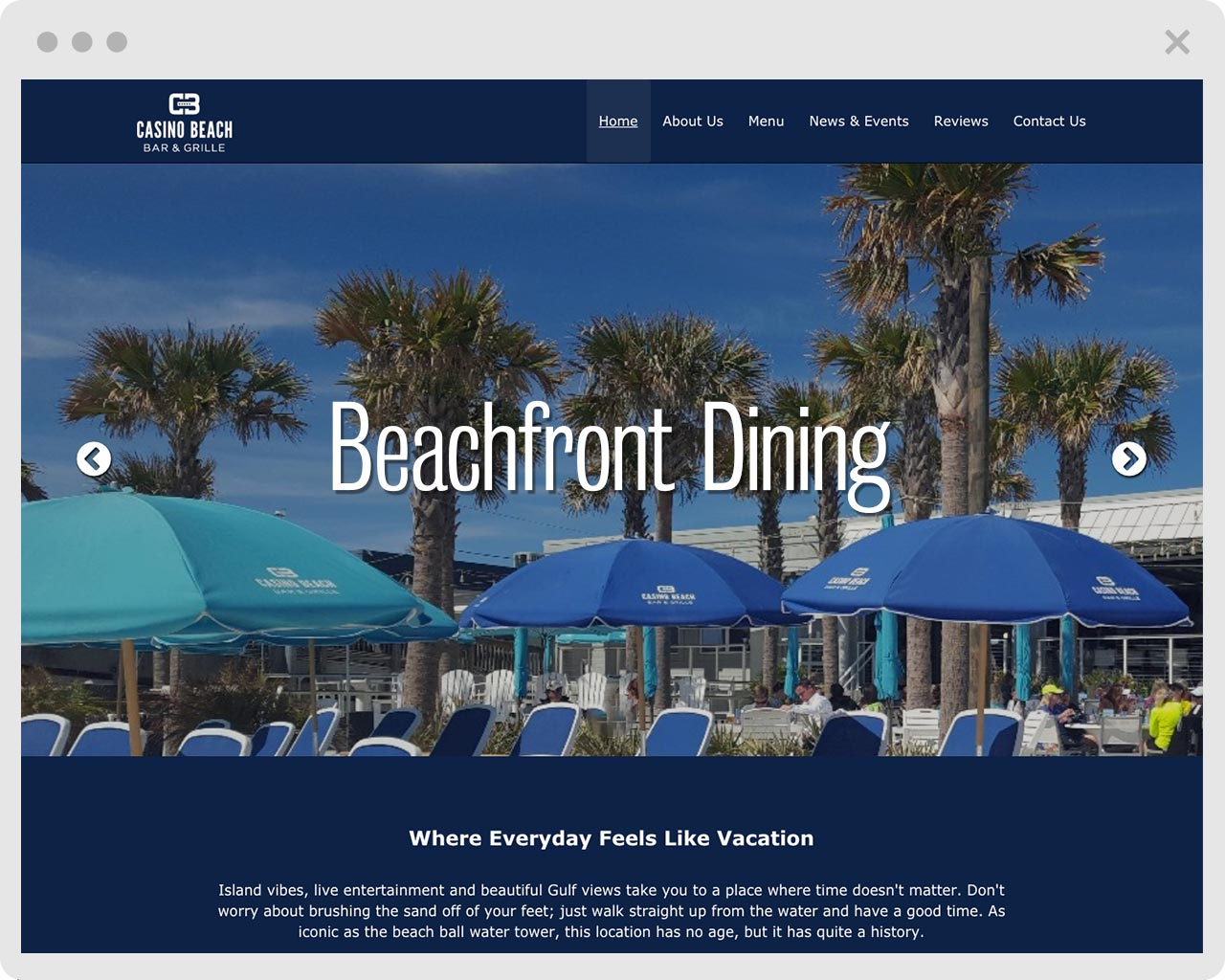 image of Casino Beach Bar and Grill webpage