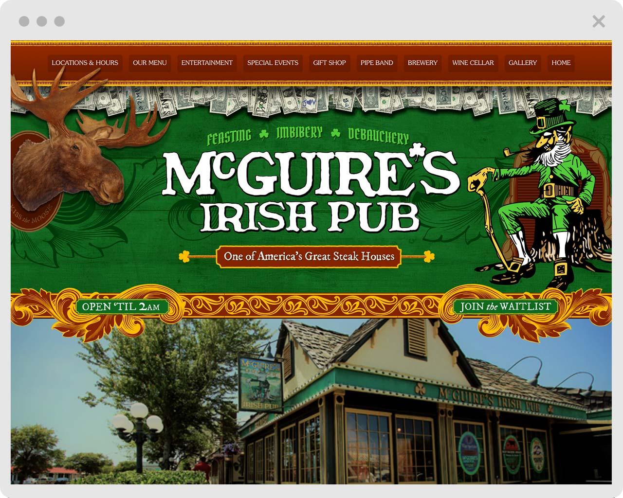 image of McGuires Irish Pub website
