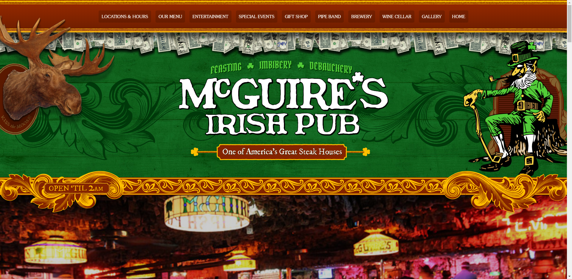 McGuires Irish Pub website screenshot