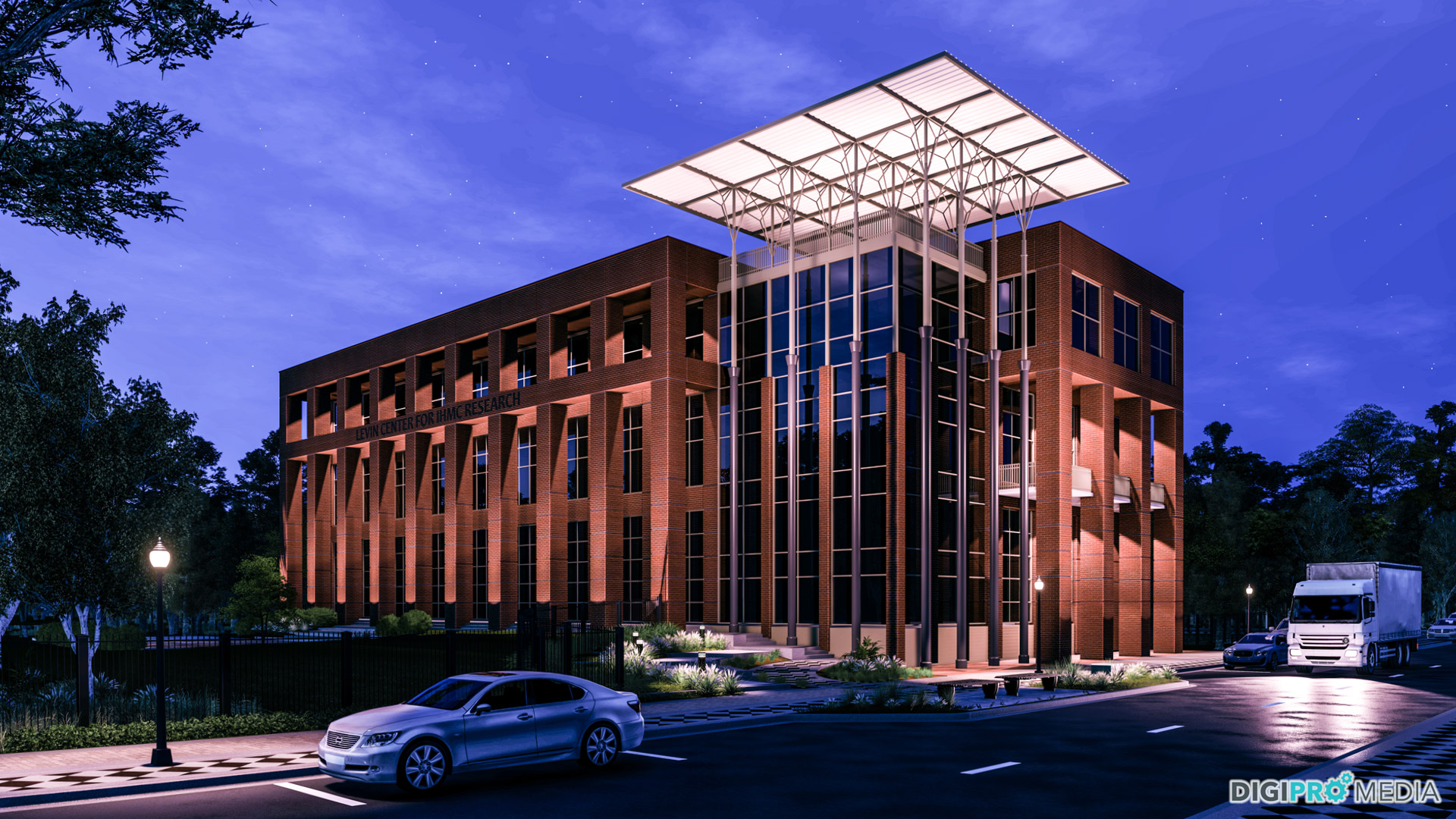 3d rendering of the Institute for Human and Machine Cognition at night.