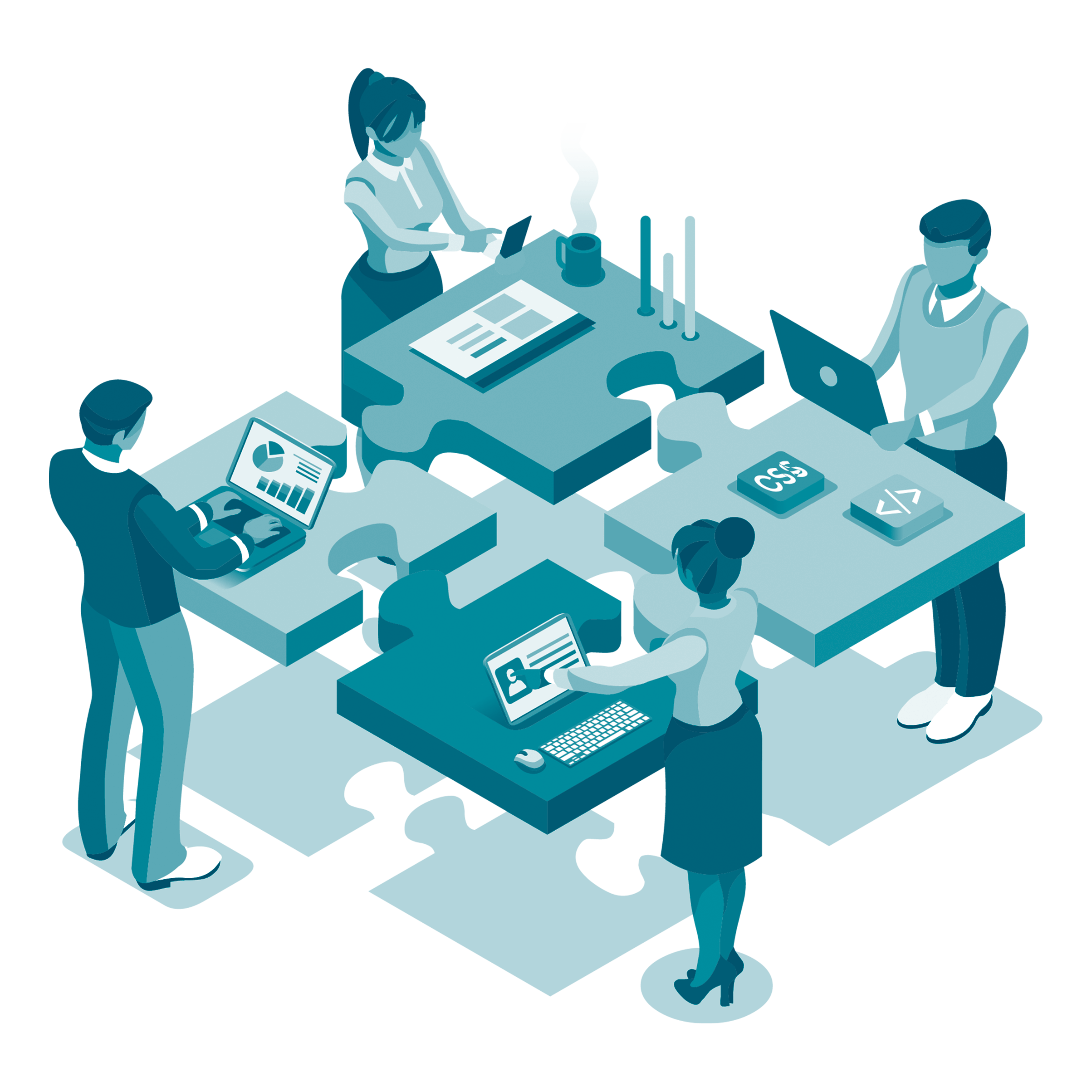 graphic showing 4 people each working and talking around a table made of 4 puzzle pieces.