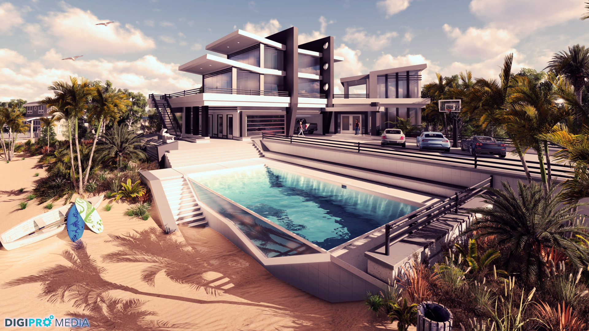 3d rendering of beach house with pool and driveway