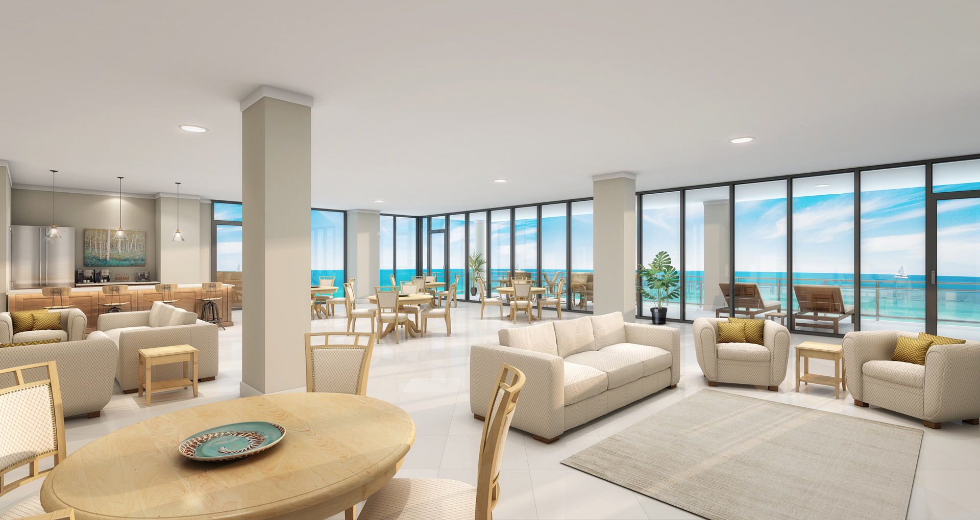 3d rendering of the interior of a penthouse in a beach condominium overlooking the ocean.