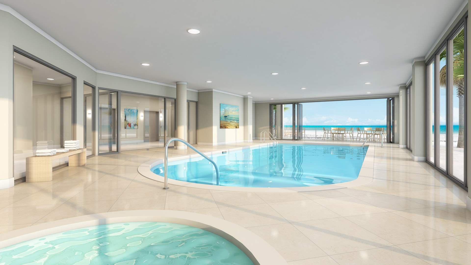 3d rendering of the ground floor indoor pool and hot tub overlooking the beach and ocean.