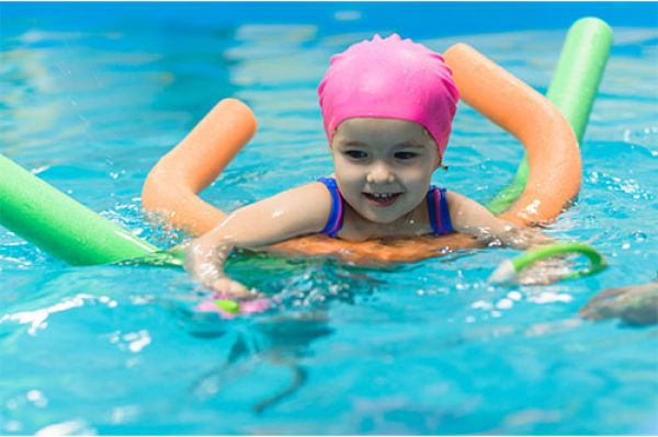 Image of toddler learning to swim