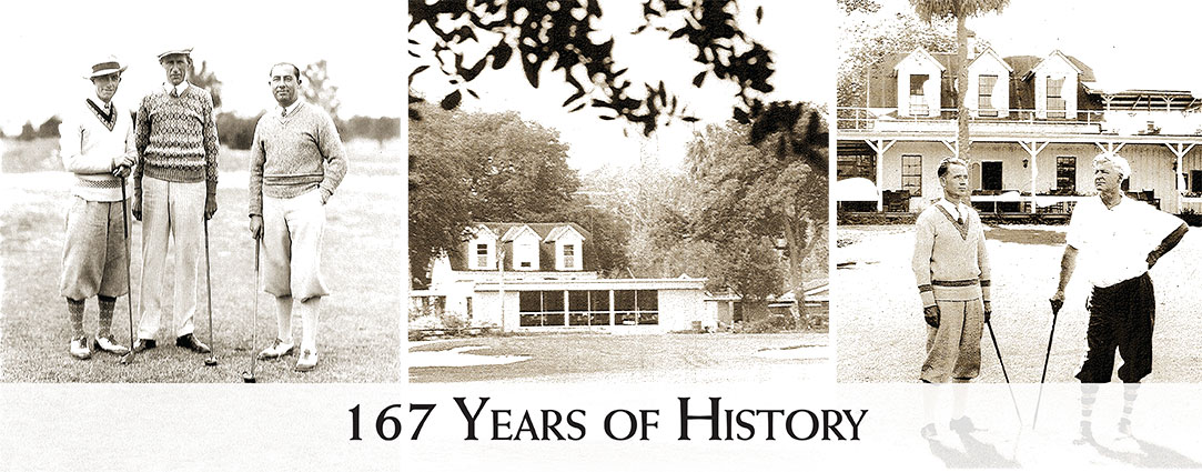 three black and white historical photographs of the golf club