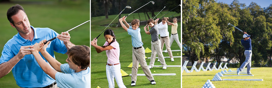 Three images: golf pro teaching, students teeing off, man teeing off